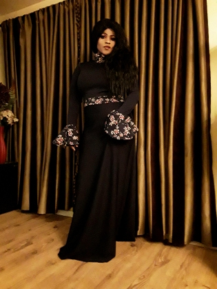 Black Gown with Flower Sleeves1-Edited